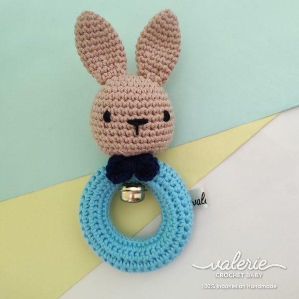 Rattle Rajut Bunny Blue - Valerie Crochet
