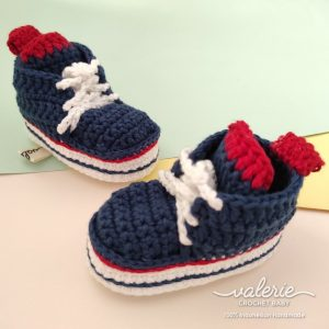 Sepatu Rajut Navy Stripe - Valerie Crochet