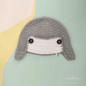 Topi Rajut Grey Aviator - Valerie Crochet