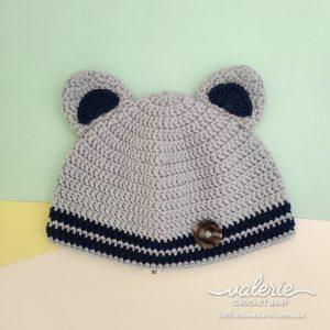 Topi Rajut Grey Navy - Valerie Crochet