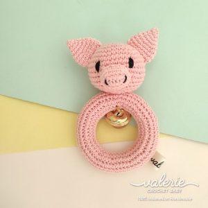 Rattle Rajut Pale Piggy- Valerie Crochet