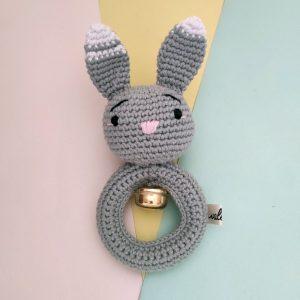 Rattle Rajut White Tip Bunny - Valerie Crochet